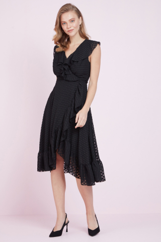 Black jacquard sleeveless midi dress