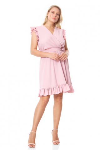 New powder pink plus size crepe sleeveless mini dress