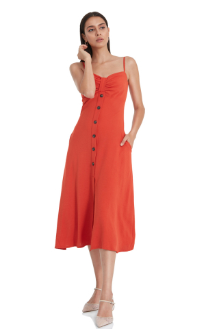 Tile crepe sleeveless midi dress