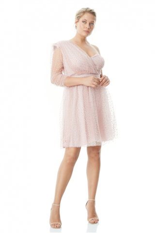 Powder plus size tulle single sleeve mini dress