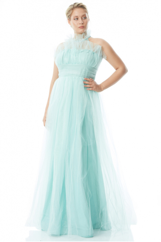 Mint green plus size tulle sleeveless maxi dress