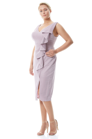 Lilac plus size knitted sleeveless mini dress