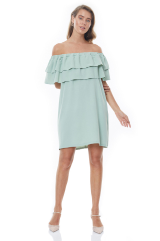 Mint green crepe strapless midi dress