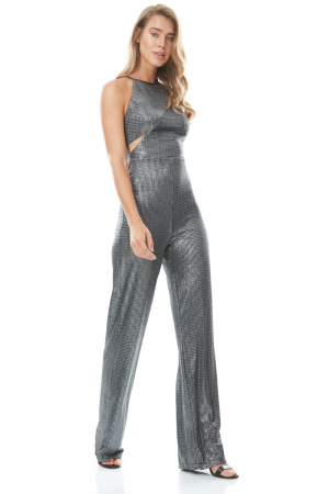 Grey knitted sleeveless mini overall
