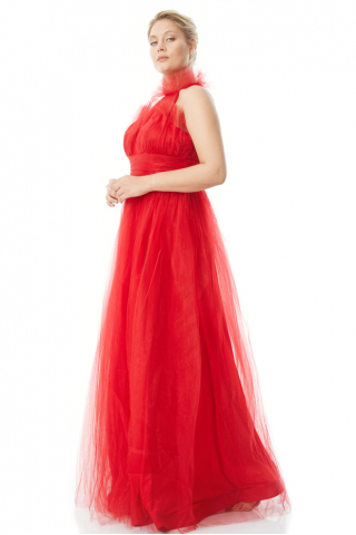 Red plus size tulle sleeveless maxi dress