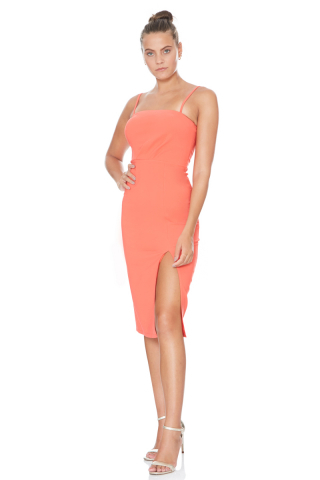 Orange crepe sleeveless midi dress