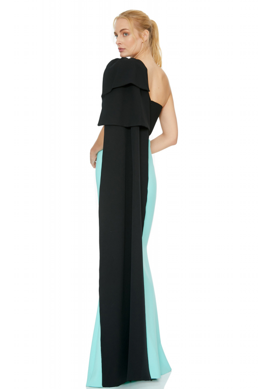 Mint green crepe single sleeve maxi dress