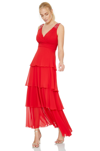 Red chiffon sleeveless maxi dress