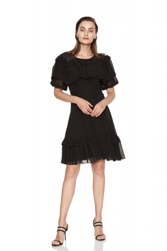 Black chiffon short sleeve midi dress