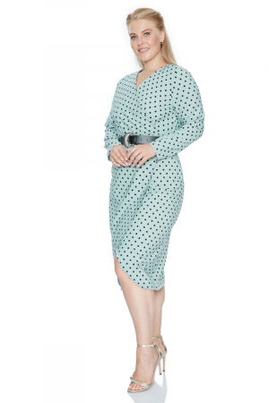 Print f79 plus size crepe long sleeve midi dress