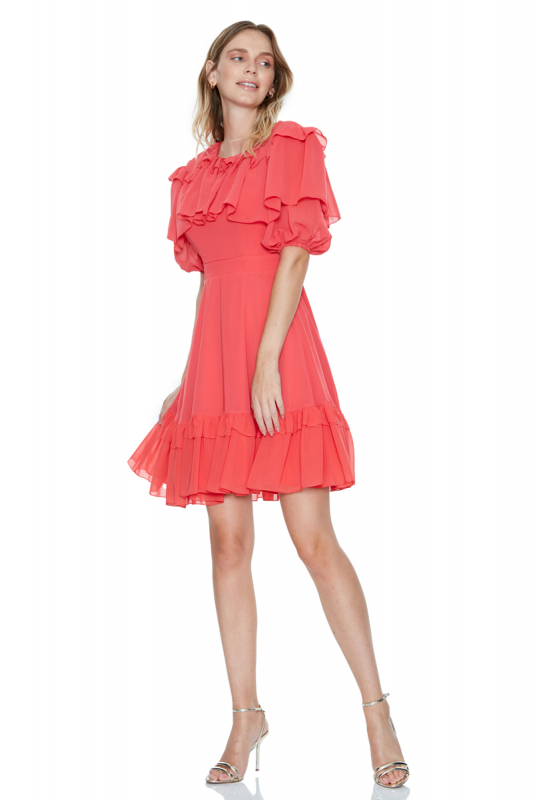 Coral chiffon short sleeve midi dress
