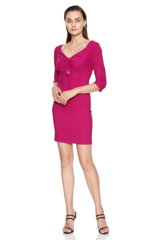 Fuchsia crepe short sleeve mini dress