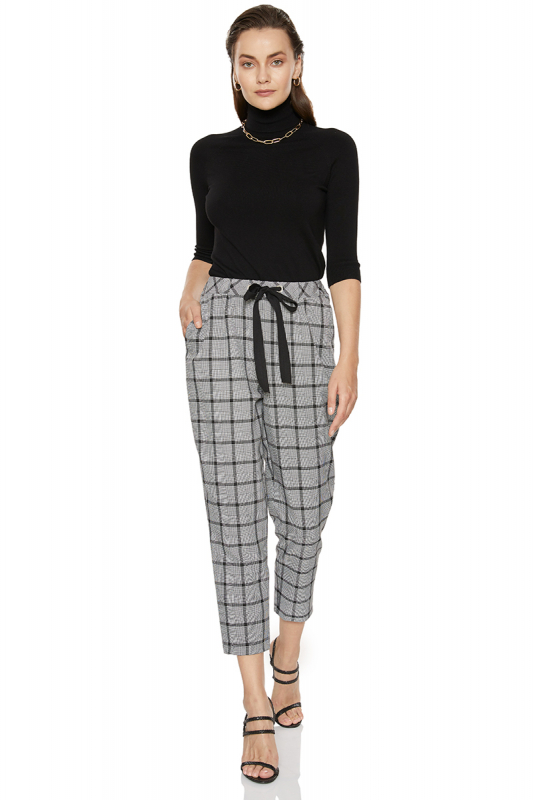 Mixed knitted sleeveless midi trousers