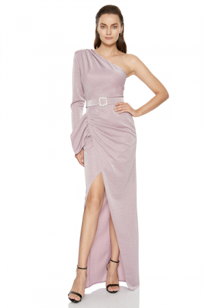 Dusty rose 020 velvet 13 single sleeve maxi dress