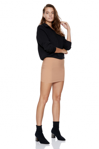 Camel crepe mini skirt