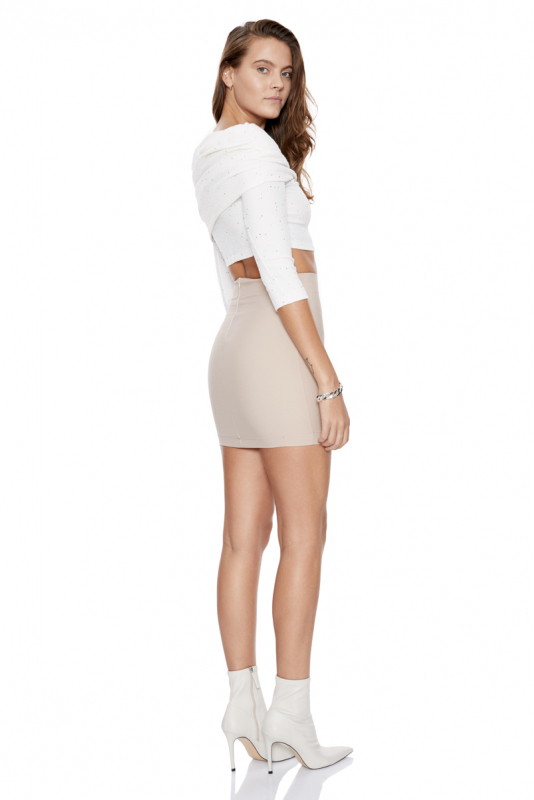 Beige crepe mini skirt