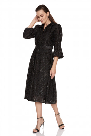 Black chiffon long sleeve midi dress