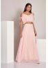 Powder chiffon 3/4 sleeve maxi dress