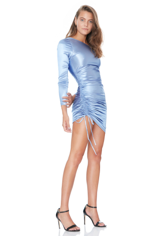 Blue satin long sleeve mini dress
