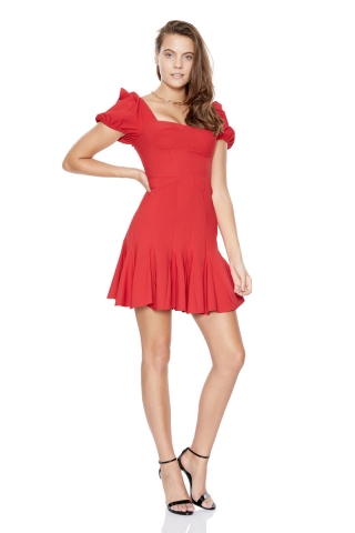 Red crepe short sleeve midi dress