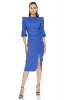Blue crepe 3/4 sleeve midi dress