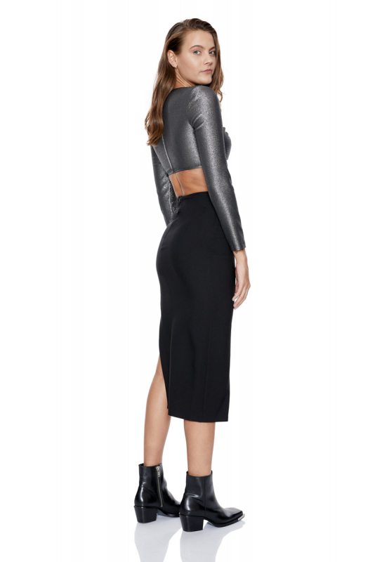Black crepe midi skirt