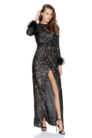 Silver sequined long sleeve long dress