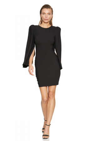 Black crepe long sleeve mini dress