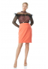 Orange plus size crepe long sleeve mini dress