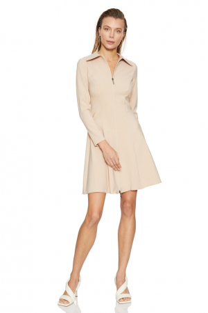 Beige crepe long sleeve mini dress