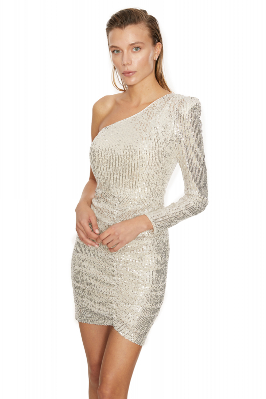 Silver sequined single sleeve maxi dress