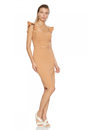 Camel crepe strapless mini dress