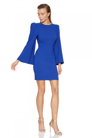 Sax crepe long sleeve mini dress