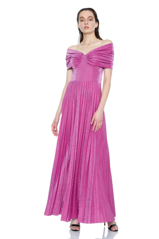 Fuchsia velvet 13 sleeveless maxi dress