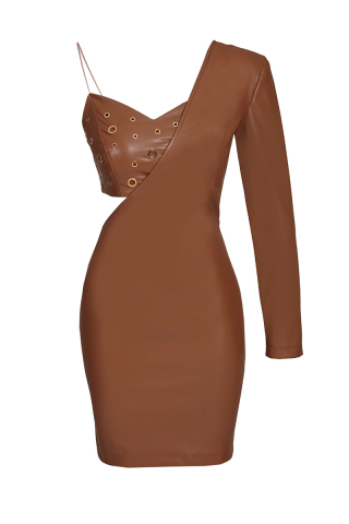 Brown leather single sleeve mini dress