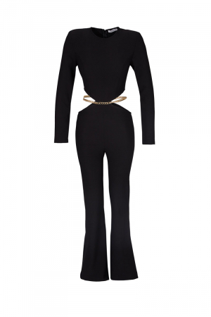 Black knitted long sleeve maxi overall
