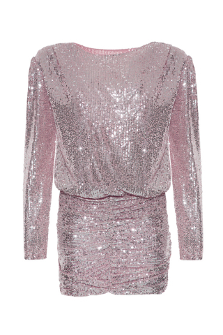 Powder sequined long sleeve mini dress
