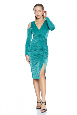 Green velvet 13 long sleeve midi dress