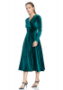 Green velvet long sleeve maxi dress