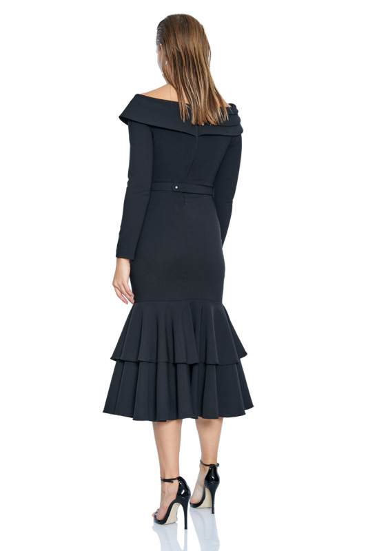 Black crepe 3/4 sleeve midi dress