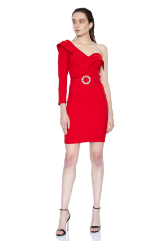 Red crepe single sleeve mini dress