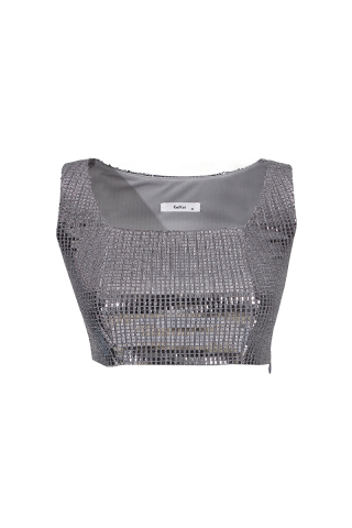 Silver sequined long sleeve
