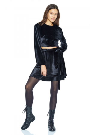 Black velvet long sleeve blouse