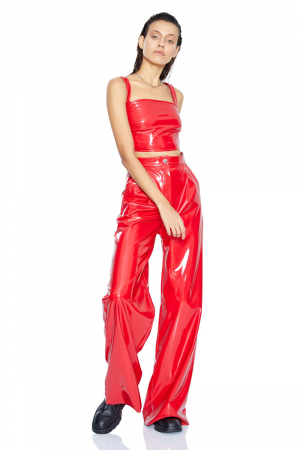 Red leather maxi trousers