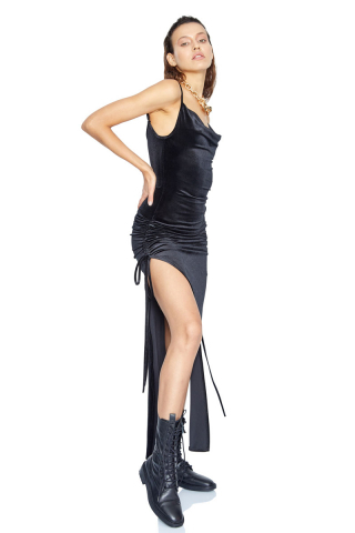 Black velvet sleeveless mini dress