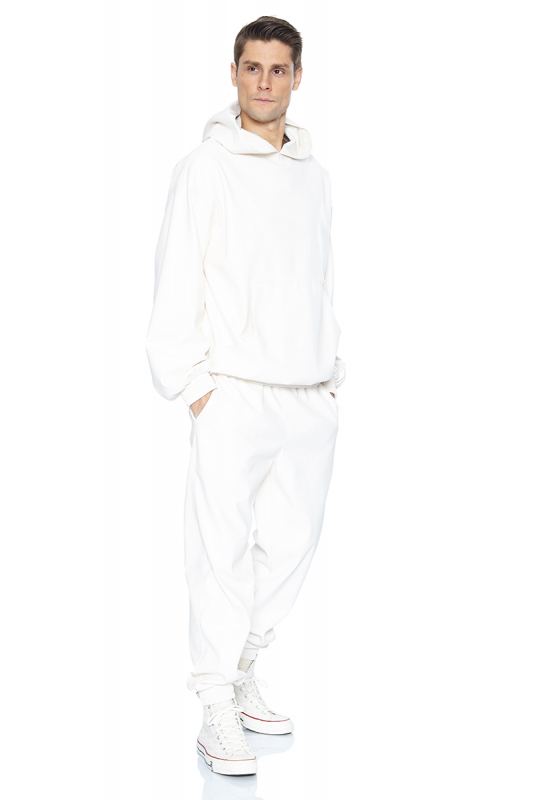 White leather long trousers