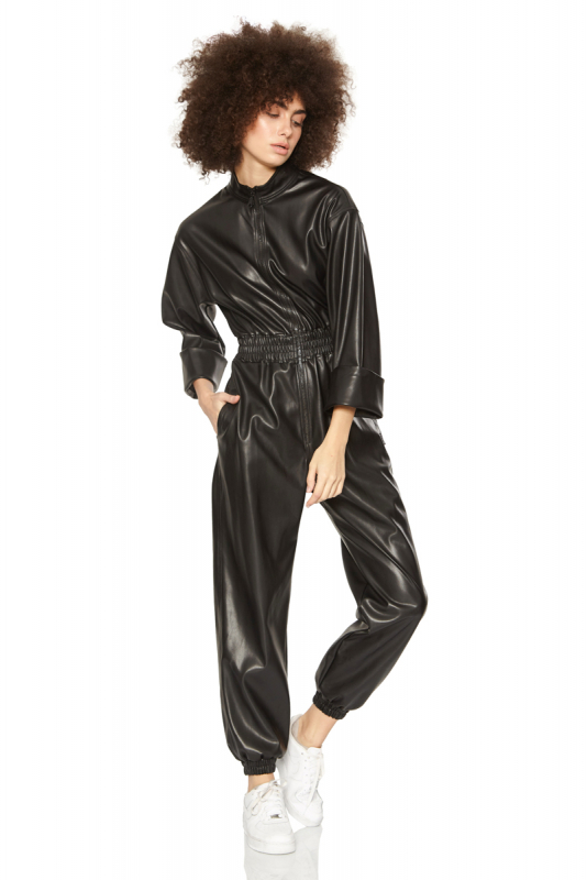 Black leather long sleeve long overall