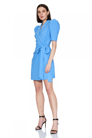 Blue crepe short sleeve mini dress