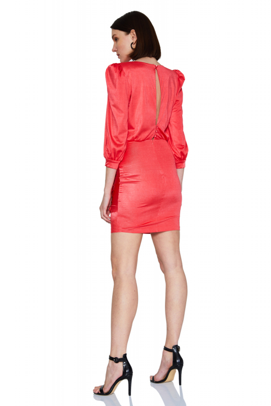 Coral satin long sleeve mini dress