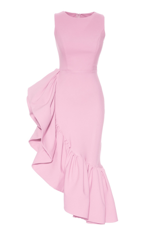 New powder pink crepe sleeveless maxi dress